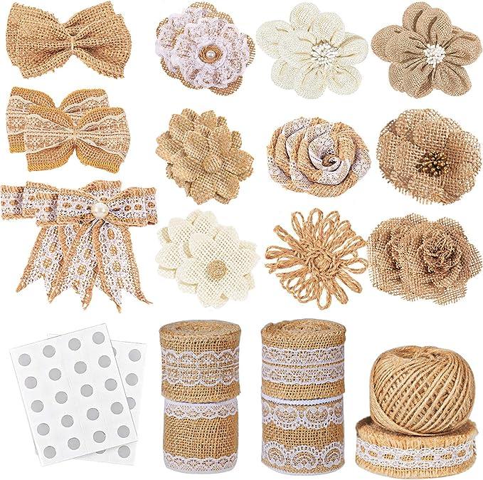 30PCS Burlap Flowers Set + 5 Lace Burlap Ribbon Rolls + 24 Handmade Burlap Flowers and Bowknots