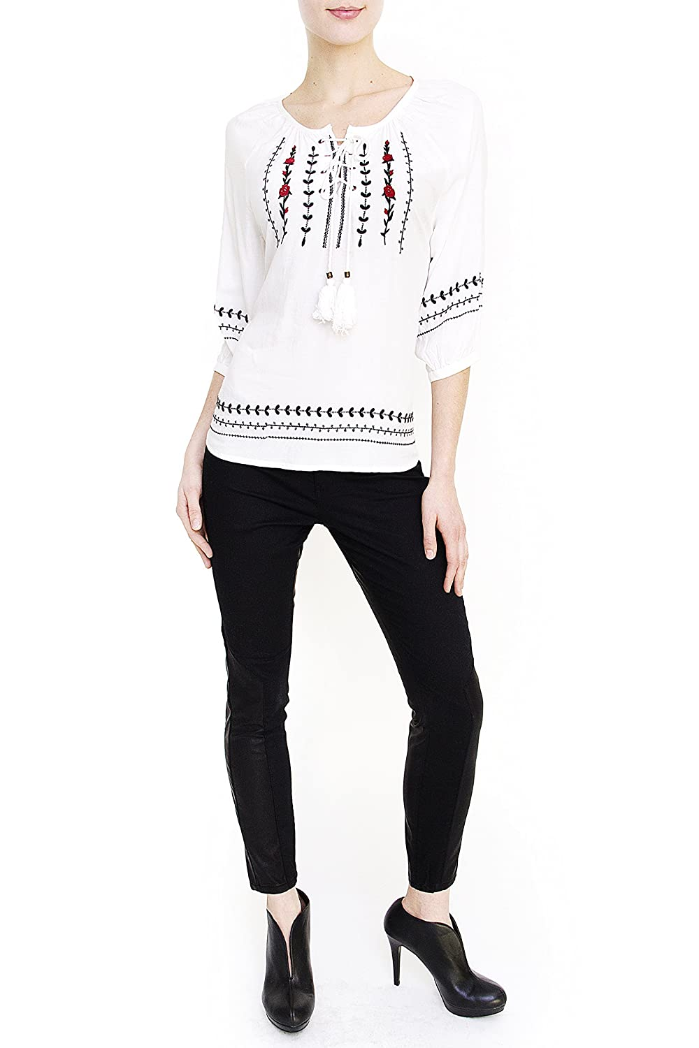 Vanilla Star Jeans - Juniors - Embroidered Peasant Top - White (V1282-F010)