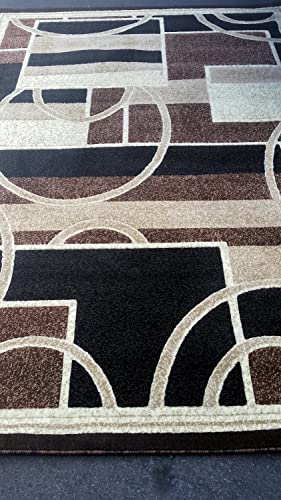 Americana Modern Area Rug Geometric Brown Design 115 6 Feet X 9 Feet