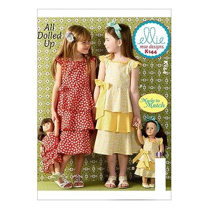 Amazon.com: KWIK-SEW PATTERNS K0144OSZ Girls\'/Doll\'s Dresses Sewing ...
