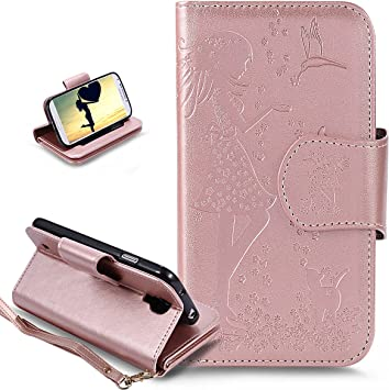 ikasus® - Funda para Samsung Galaxy S4 de piel sintética [poliuretano], carcasa protectora con amortiguador de golpes tipo cartera con diseño artístico de flores, chica con ve: Amazon.es: Bricolaje y herramientas