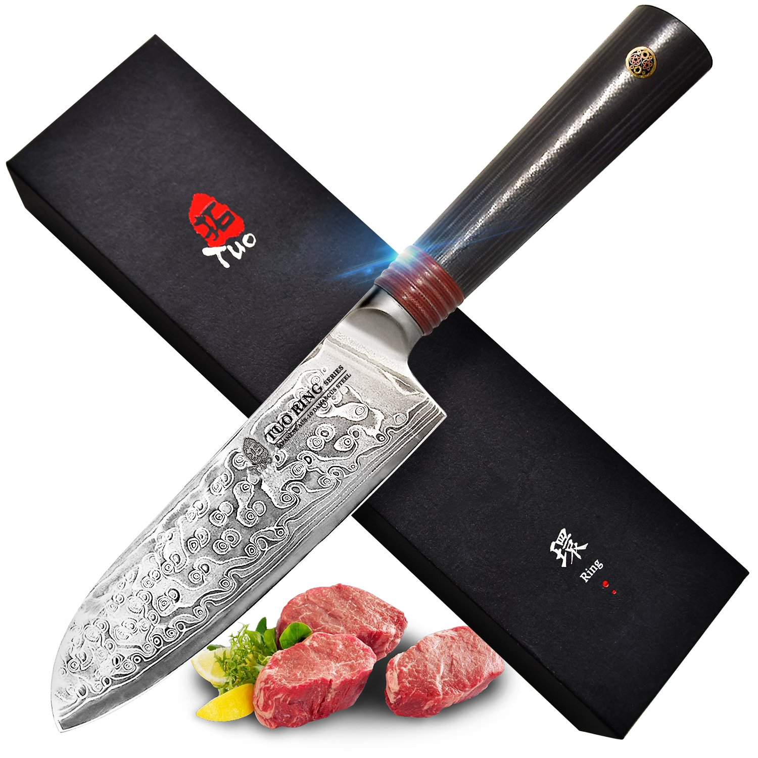 TUO Cutlery Santoku Knife 5.5 inch, Japanese AUS-10 High Carbon Rose Damascus Steel, Asian Kitchen Knife with Ergonomic G10 Handle - RING R Series by TUO Cutlery