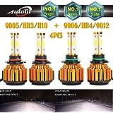 9005 and 9006 LED Headlight Bulbs, 16000 Lumen 6000K White Super Bright High Beam / Low Beam / Fog Lights / Daytime Running Light Replacement Bulbs Kit (Package of 4PCS)