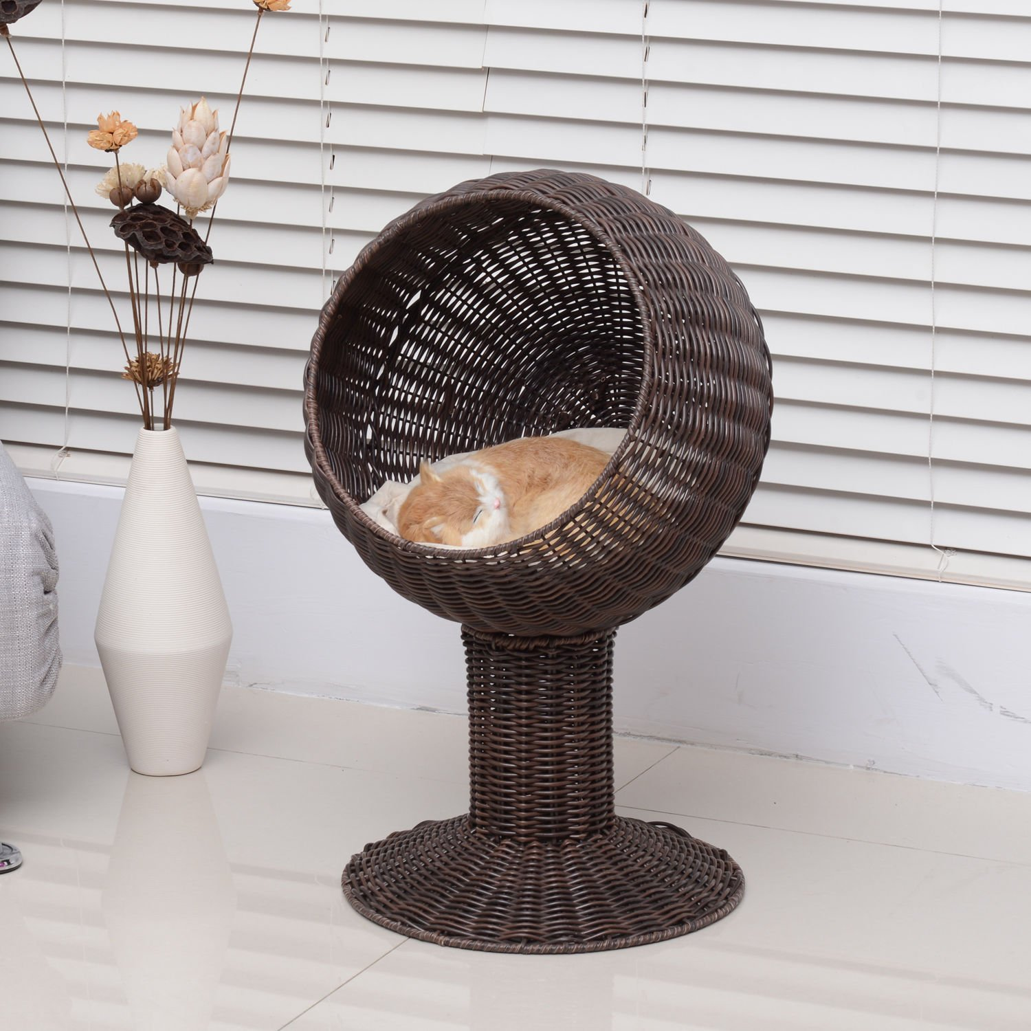 Generic cker Elevate Elevated Pet r Elev Bed Cat at Cave Co Hooded Cushion Scratch House ve Condo Hooded C 28'' Rattan Wicker hion Scrat Cave Condo