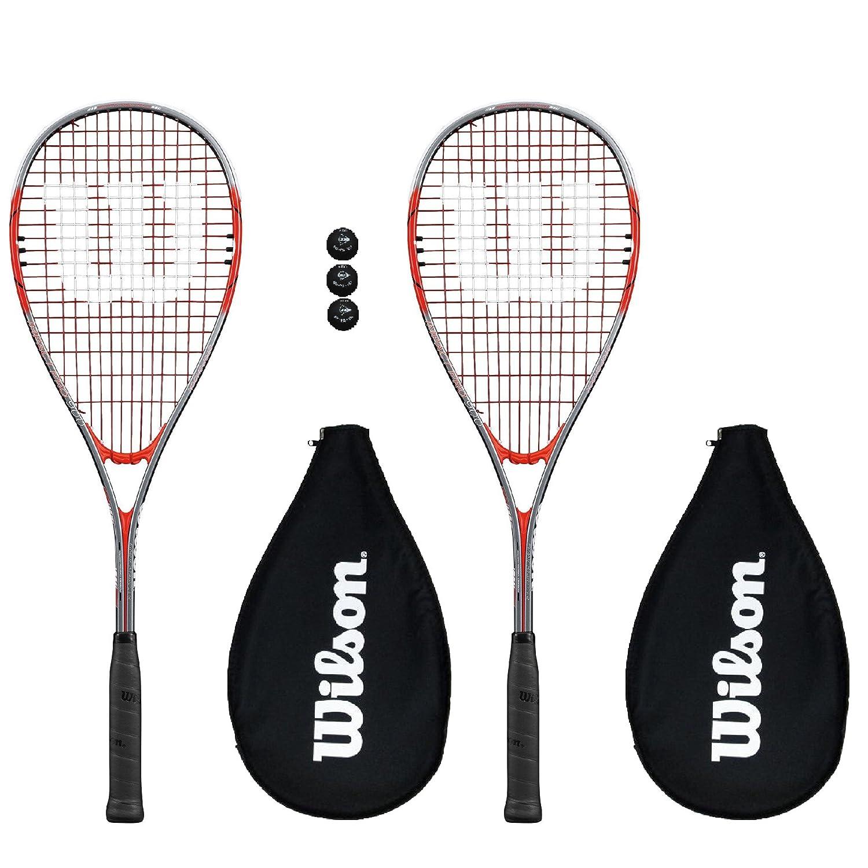 2 x Wilson Pro 900 Squash Rackets + 3 Squash Balls