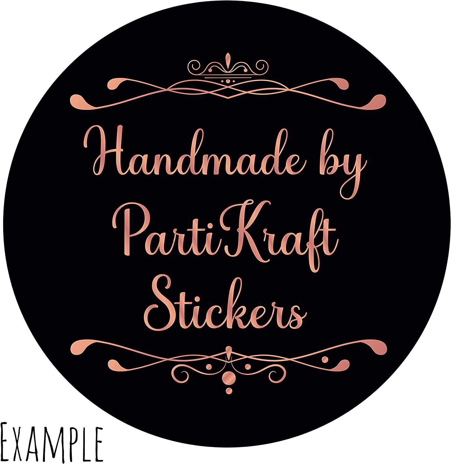 Candles Handmade Cards Soaps and more Wax Melts Cakes 45mm Stickers - 24 Pack Personalised Rose Gold and Black Stickers//Labels Perfect for your Craft Business