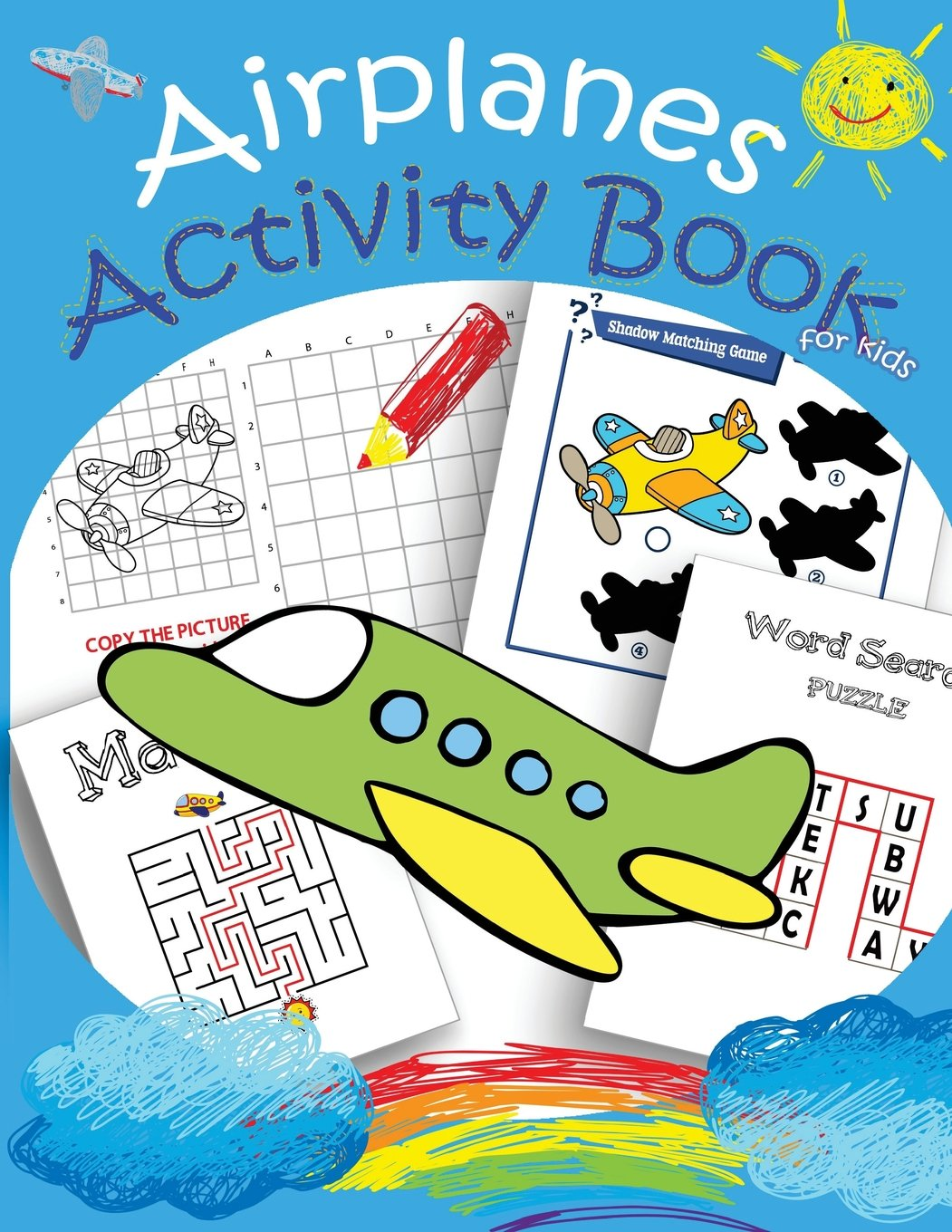 Airplanes Activity Book For Kids Mazes Dot To Dot Coloring Draw
