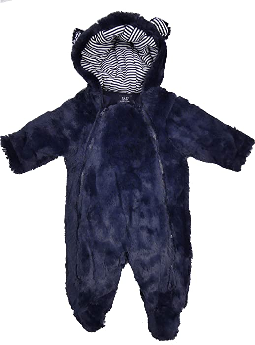 7737b08bc Babies Lined Faux Fur Lined Snowsuit Coat Pink Navy White Roll Over Mitts  (Navy, 0-3 Months): Amazon.co.uk: Clothing