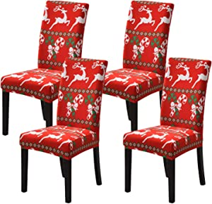 orrhomi Christmas Chair Covers 4PCS Stretch Removable Washable Dining Room Chair Protector Slipcovers Christmas Decoration/Home Decor Dining Room Hotel, Ceremony Seat Cover (Christmas Deer)