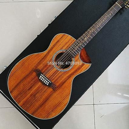 Guitarra eléctrica acústica de 12 cuerdas, guitarra Cutway: Amazon ...