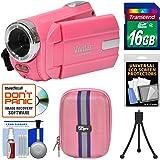 Vivitar DVR 508 NHD Digital Video Camera Camcorder (Bubble Gum Pink) with 16GB Card + Case + Tripod + Kit
