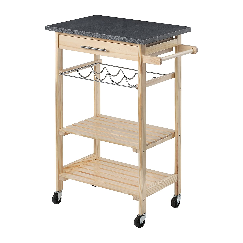 Premier Housewares Kitchen Trolley with Granite Top, Pinewood/Black with Pine Wood 10 Bottle Wine Rack