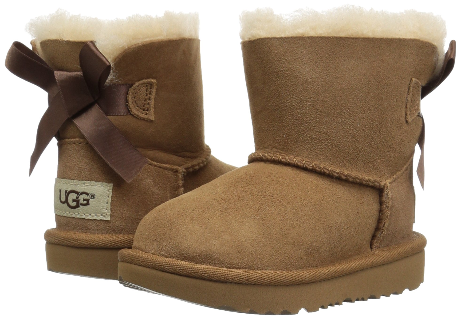 UGG Girls T Mini Bailey Bow II Pull-On Boot, Chestnut, 10 M US Toddler by UGG (Image #6)