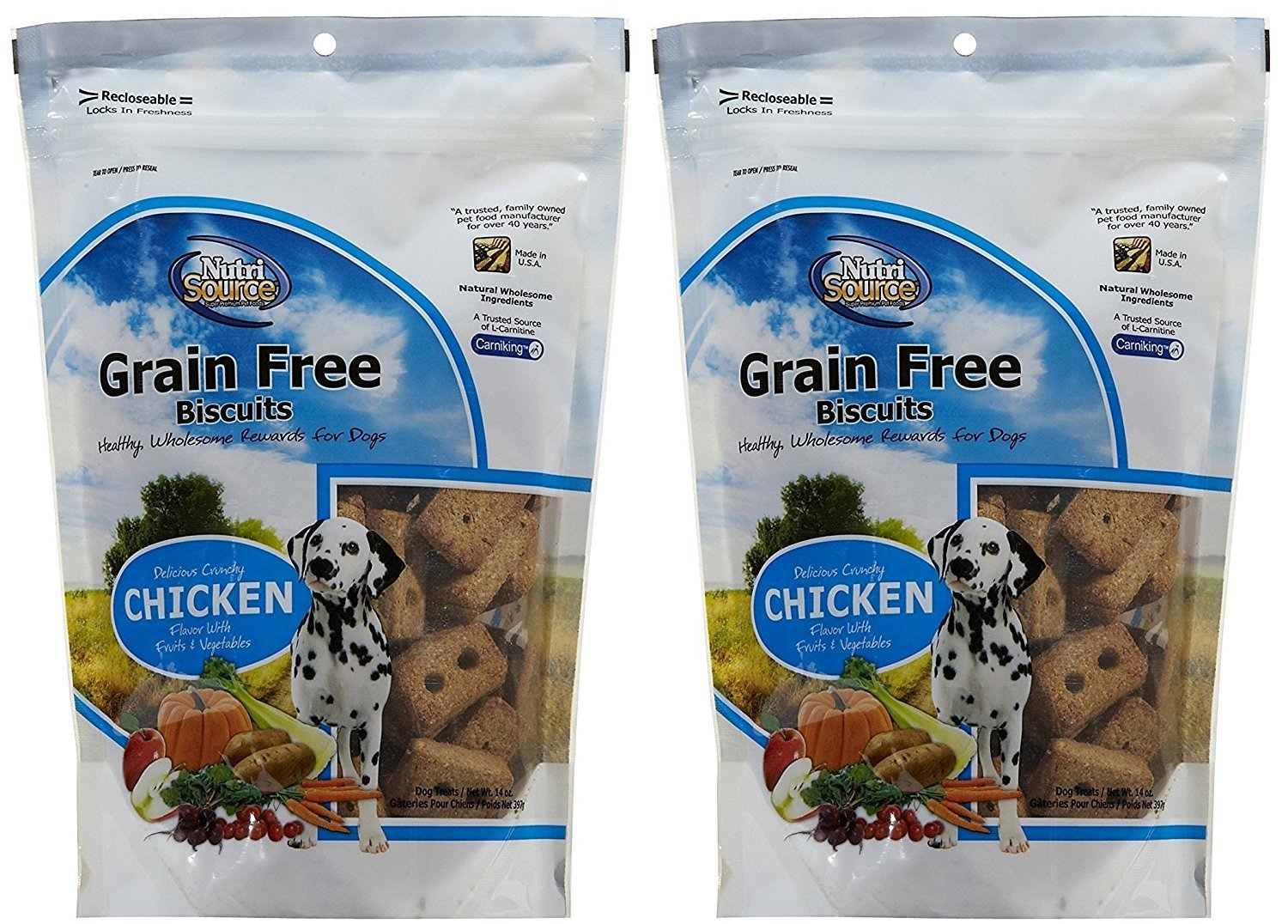 2 Pack NutriSource Grain Free Chicken Biscuit Dog Treats 14 oz. Per Pack