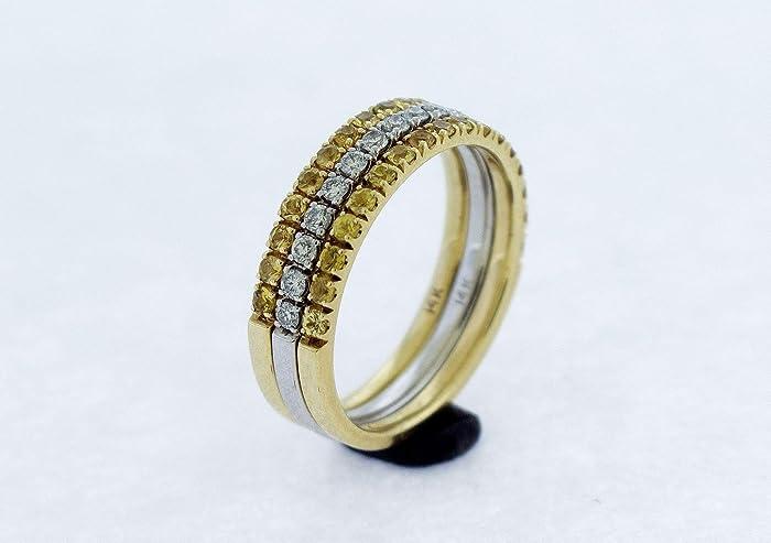 af3ed61e3c8c3 Amazon.com: Yellow Sapphire and Diamond Half Eternity Ring Set(3) or ...