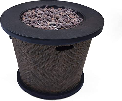 Christopher Knight Home Elizabeth Outdoor 32 Circular Light Weight Concrete Fire Pit – 40,000 BTU, Brown
