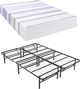 Classic Brands Vibe 12-Inch Gel Memory Foam Mattress with Hercules Heavy-Duty 14-Inch Platform Metal Bed Frame, King