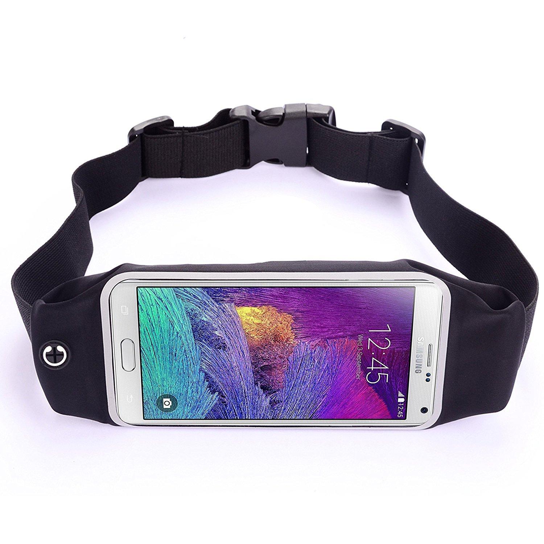 LS、ランニング&フィットネスウエストパック、デュアルラージポケット、Sweatproof、反射ファスナー、イヤフォン穴、クリアタッチ画面ウィンドウfor iPhone 6s / 7 Plus , Samsung Galaxy s7 / s6 / Edge、LG g5 & More ブラック 6717466  ブラック B01G6IO0EQ