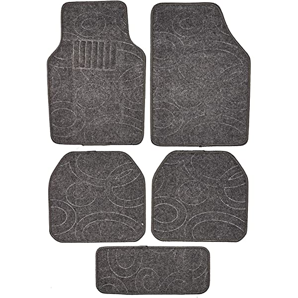 Tattoo Red BDK MT-201-RD A Set of 4 Universal Fit Plush Carpet with Vinyl Trim Floor Mats For Cars Trucks