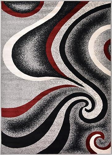 Rug Styles AMACMF8103-5X7 New Swirl Grey Area Rugs, 4 11 x 6 11 , Gray