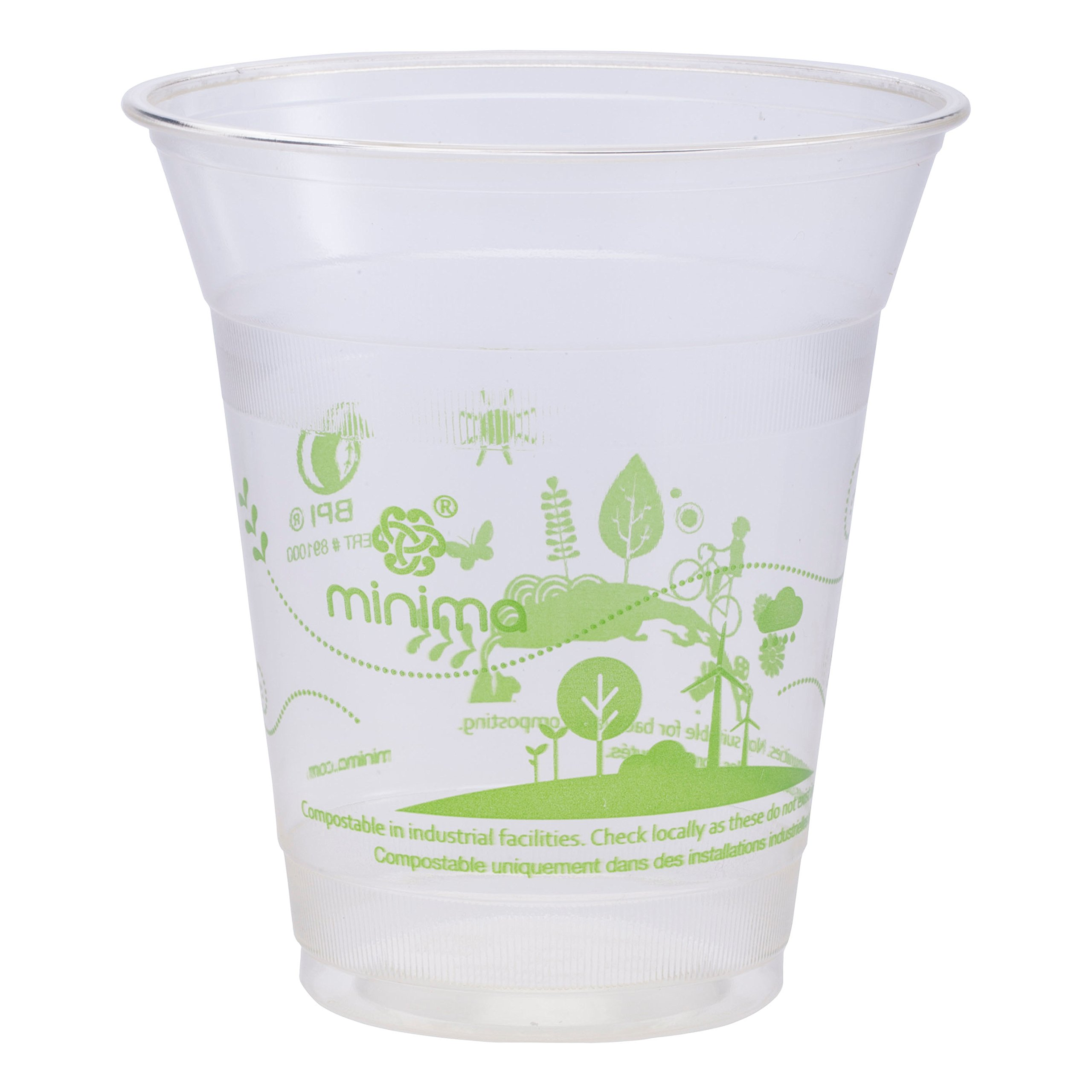 Minima 12 oz 1000 Count Compostable Cold Cups – 100% BPI-CERTIFIED Biodegradable & Compostable certified Drink Cups (Circle of Life Design)