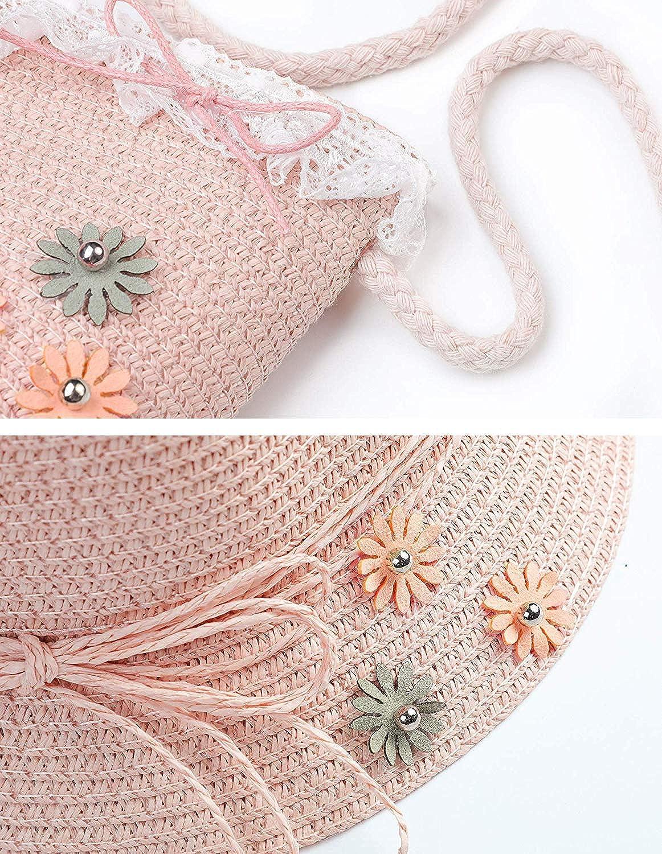Petit Sac Anti-UV Pliable Bonnet de Soleil pour Plage Voyage Randon/ée 3-7 Ans Lachi Chapeau de Soleil Filles Chapeaux de Paille d/ét/é Enfant
