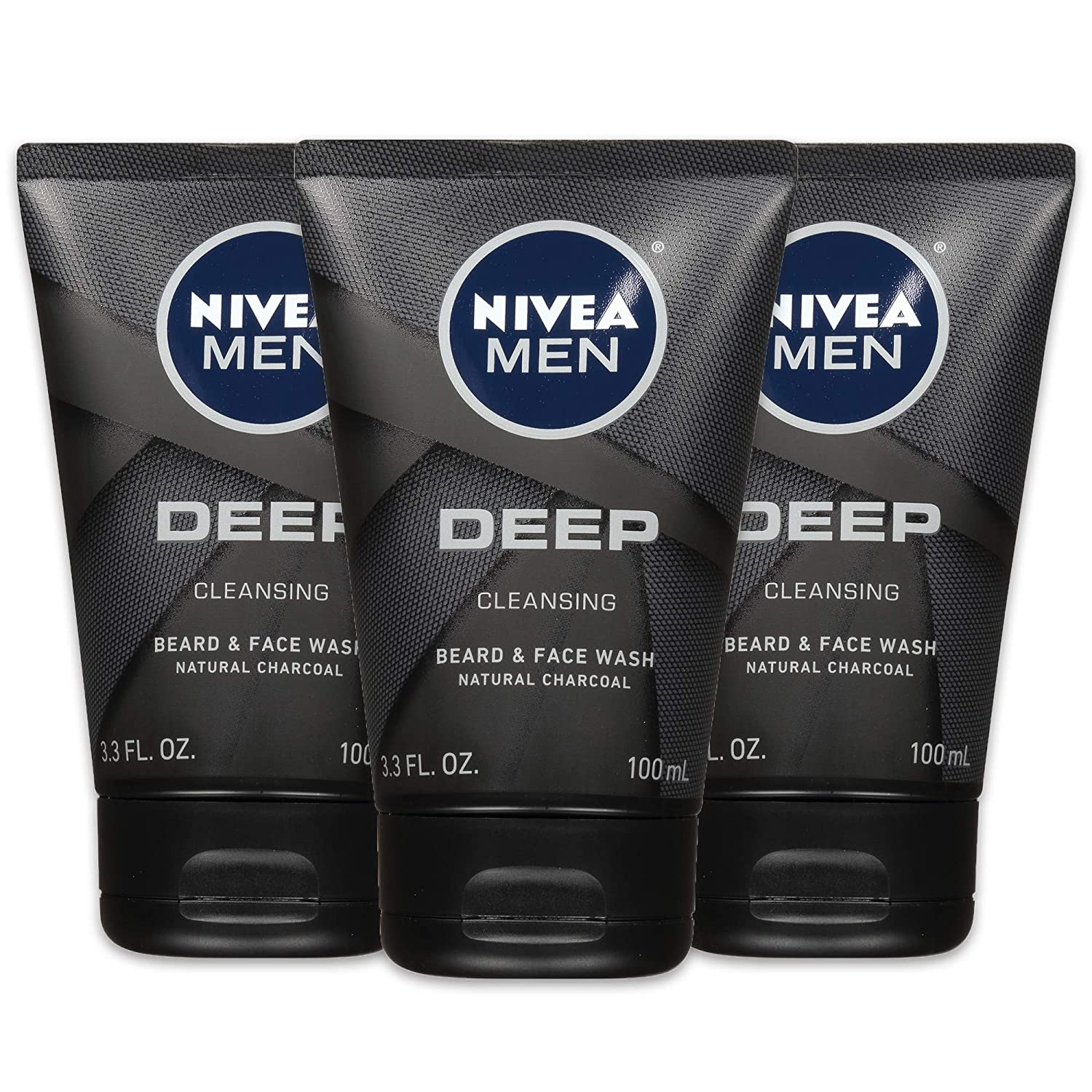NIVEA Men DEEP Cleansing Beard & Face Wash - With Natural Charcoal to Deeply Clean - 3.3 fl. oz. Tube (Pack of 3): Beauty