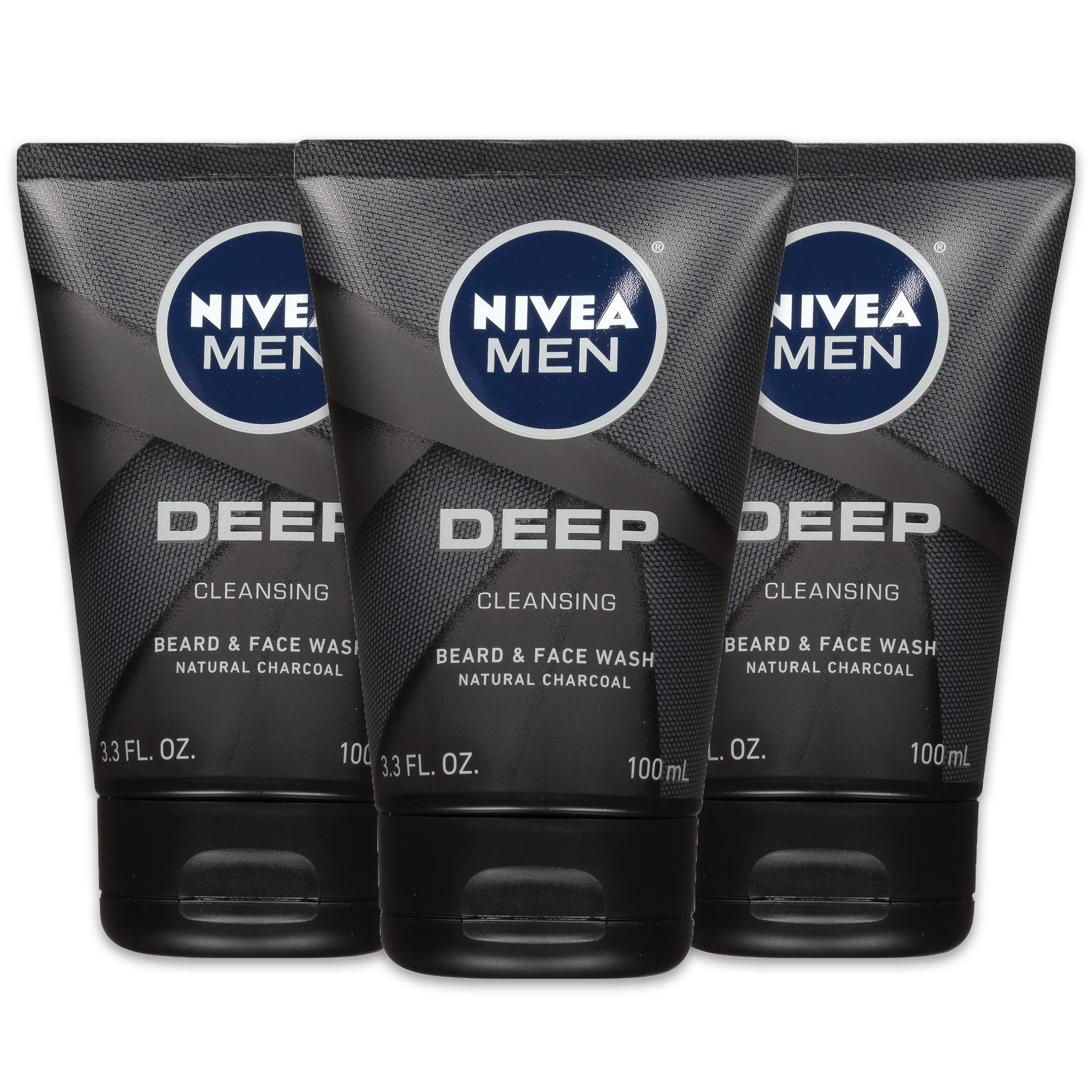 NIVEA Men DEEP Cleansing Beard & Face Wash - With Natural Charcoal to Deeply Clean - 3.3 fl. oz. Tube (Pack of 3) by Nivea Men