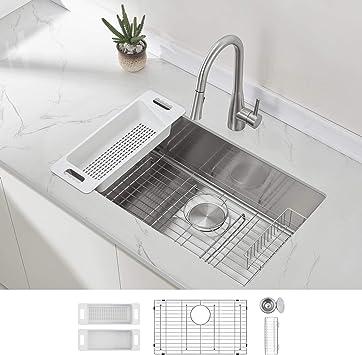 Modena Undermount Kitchen Sink Set, 16 Gauge Stainless Steel (30