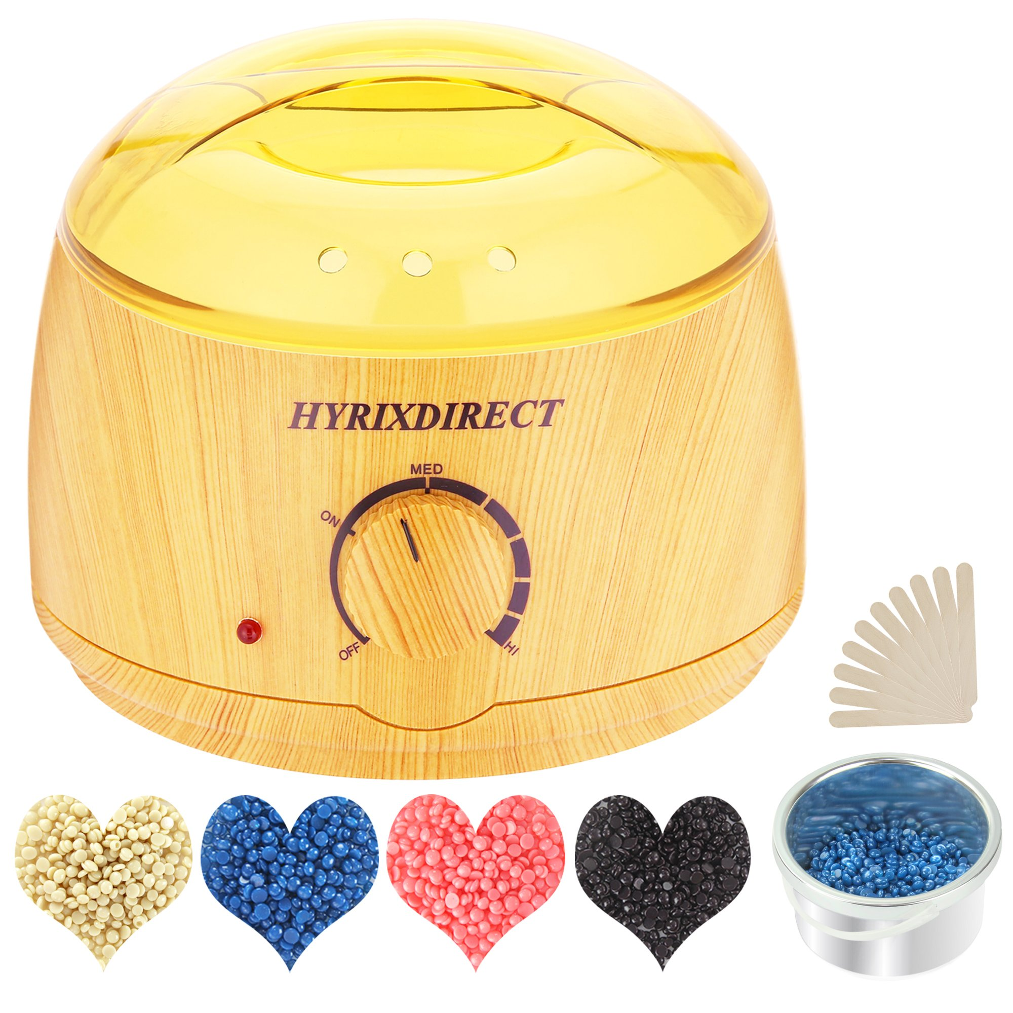 Wax Warmer Hair Removal Waxing Kit Electric Wax Heater with 4 Flavors Hard Wax Beans 10 Wax Applicator Sticks Home Depilatory Beauty Machine for Arm Leg Face Bikini Wood Style