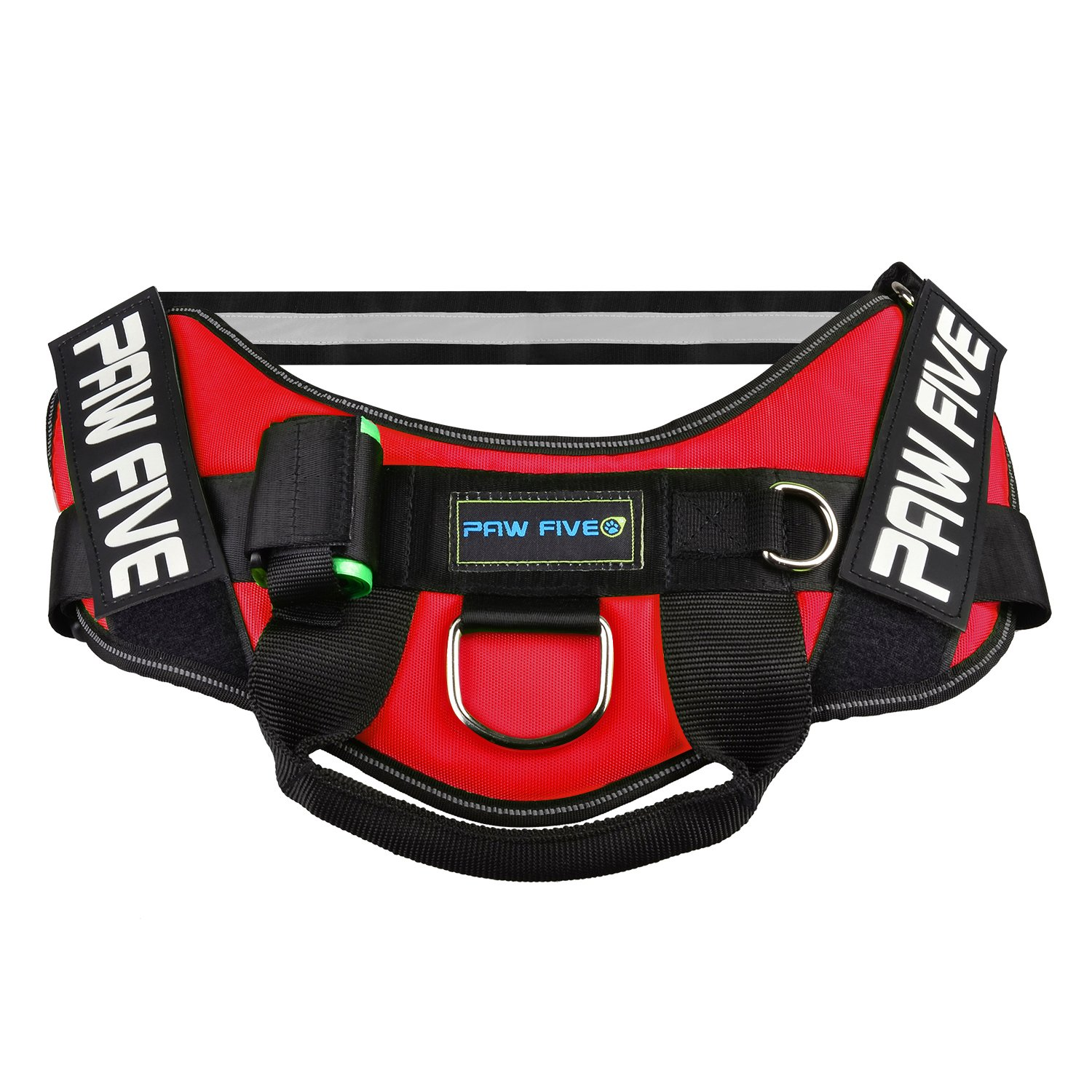 Paw Five CORE-1 Reflective Dog Harness with Built-in Waste Bag Dispenser Adjustable Padded No-Pull Easy Walk Control for Medium and Large Dogs, Check Sizing Chart Before Ordering (Medium, Lava Red) by Paw Five (Image #3)