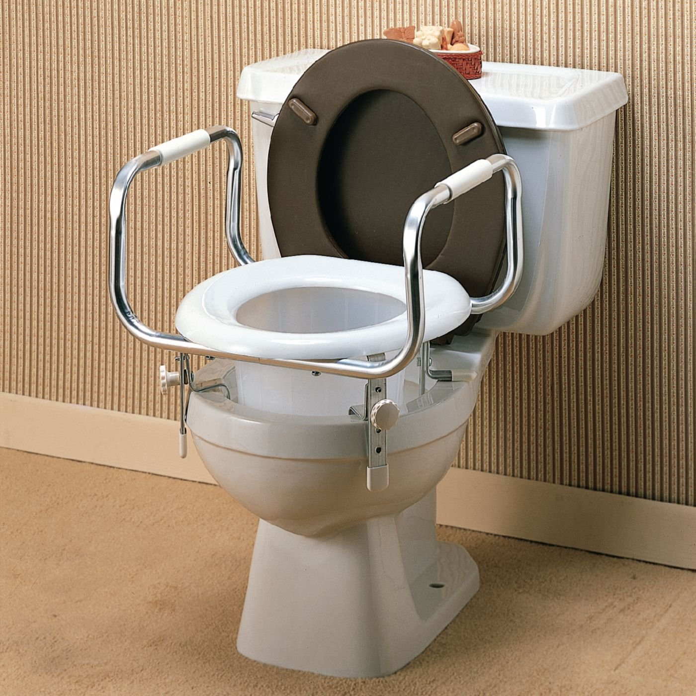 Raised Toilet Seat with Safety/Hand Rails