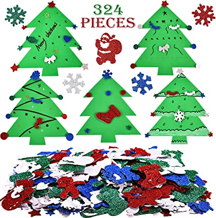 120 Christmas Foam Shapes Xmas Kids Colours Stickers Stocking Card Decorations