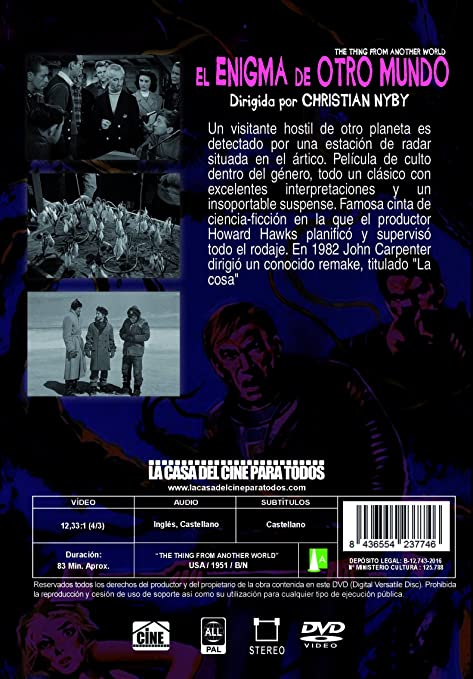 El Enigma De Otro Mundo [DVD]: Amazon.es: Kenneth Tobey, Margaret Sheridan, Robert Cornthwaite, Douglas Spencer, Dewey Martin, James Arness, Christian Nyby, ...