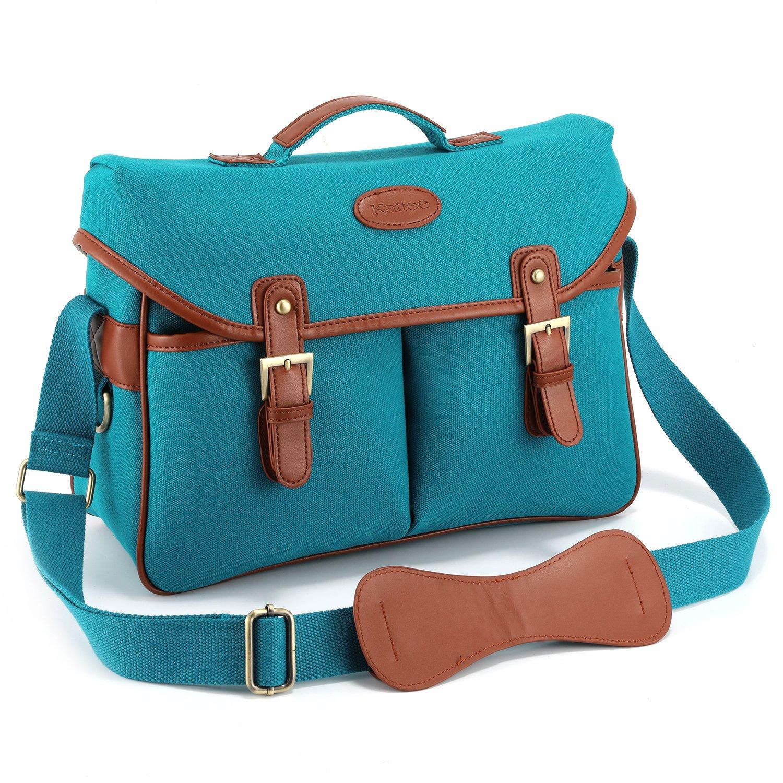 Kattee Vintage PU Leather Canvas DSLR Mirrorless Camera Shoulder Bag for Canon Nikon, etc (Large, Blue)