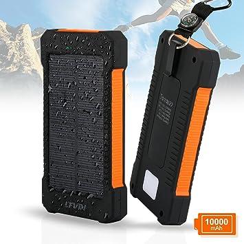 Cargador Solar Móvil 10000mAh,Levin Batería Solar Externa Portátil,Solar Panel Charger Power Bank Mobile Compatible con ...
