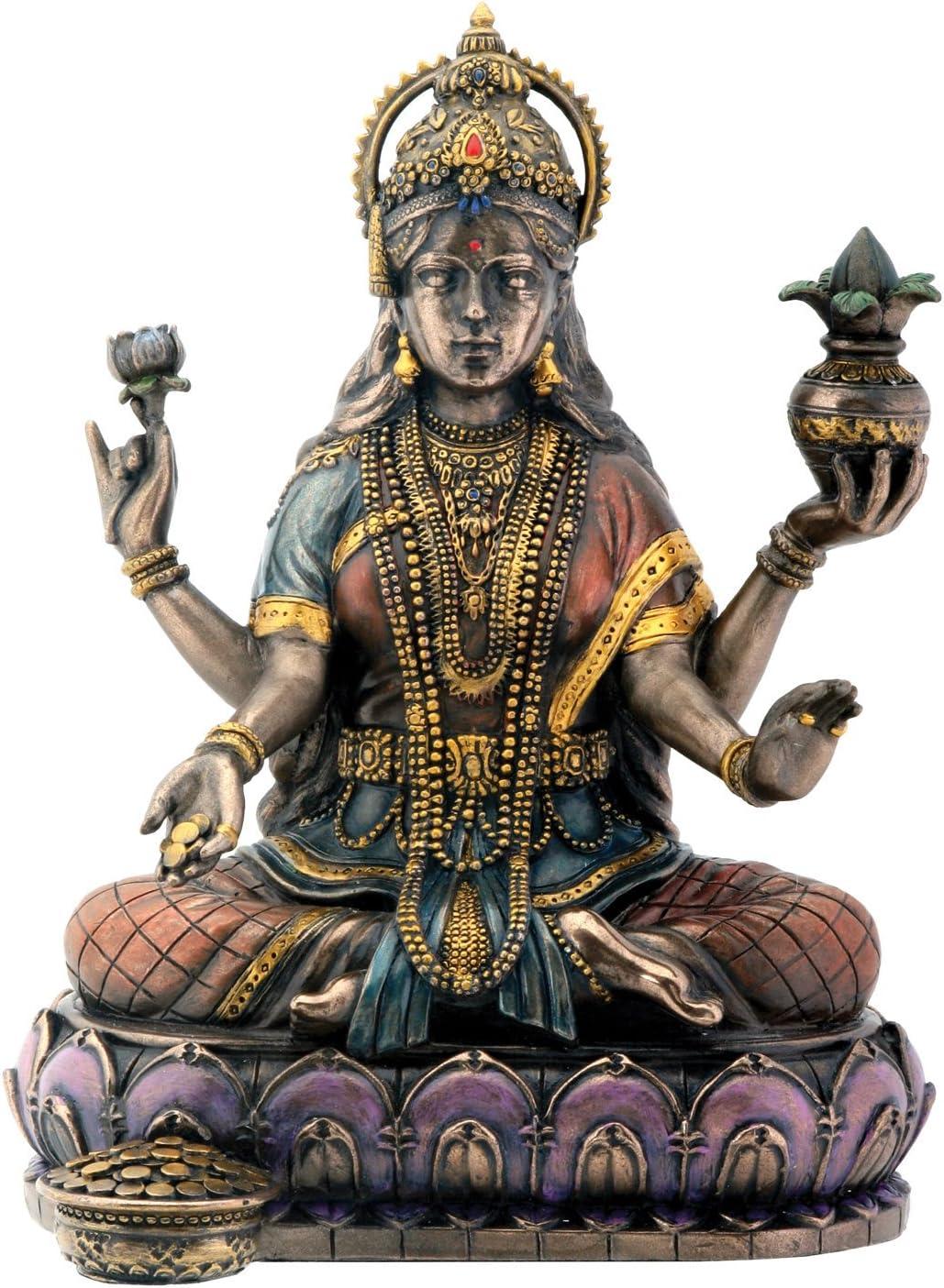 Lakshmi Hindu Goddess on Lotus Statue Sculpture