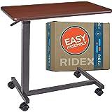 Adjustable Overbed Table - Non-Tilt Mobile Bedside Desk Tray with Swivel Caster Wheels - Serve Meals, Use Laptop/Computer, Wr