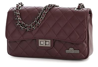 581ca100b0246 LIATALIA Womens Ladies Quilted Genuine Italian Leather Evening Clutch Party  Bag Purse - CAROL  Medium