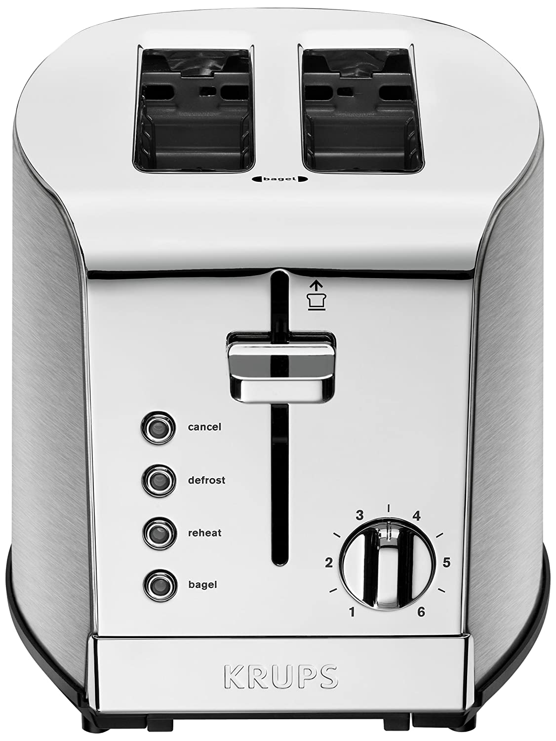 KRUPS KH732D Breakfast Set 2-Slot Toaster with Brushed and Chrome Stainless Steel Housing, 2-Slice, Silver Groupe SEB 1500637649