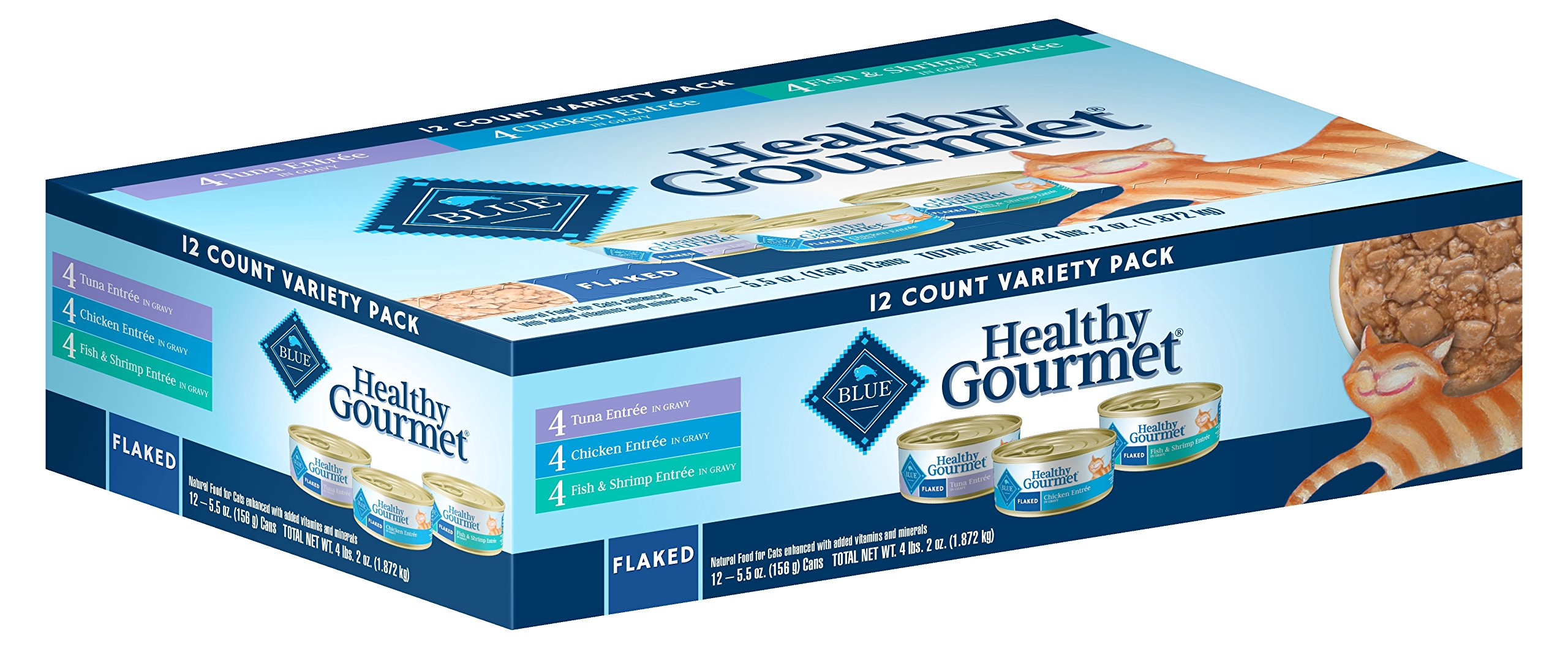 Blue Buffalo Healthy Gourmet Natural Adult Flaked Wet Cat Food Variety Pack, Tuna, Chicken, Fish & Shrimp 5.5-oz cans (12 count- 4 of each flavor) by Blue Buffalo