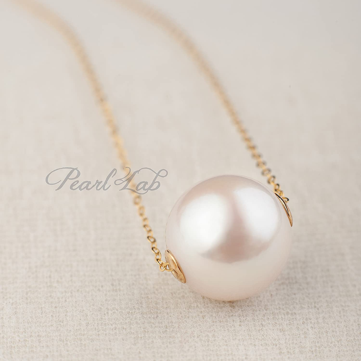 Single Pearl Necklace | Round White Edison Freshwater Pearl | Excellent Luster | G18K Solid Yellow Gold | Beaded Minimalist Everyday