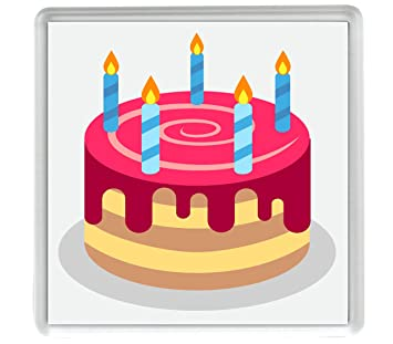 Birthday Cake Emoji Single 80mm X 80mm Coaster Amazon Co Uk