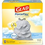 Glad ForceFlex Tall Kitchen Drawstring Trash Bags – 13 Gallon Trash Bag, Fresh Clean scent with Febreze Freshness – 110 Count