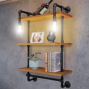 TRUSTUSS Industrial Pipe Metal Shelf Shelving Shelves with Vintage Bulb Solid Wood Planks for Bathroom Storage Bookshelf Corner Bedroom Wall Mounted Floating Decor Rustic Organizer Hanging Book Room