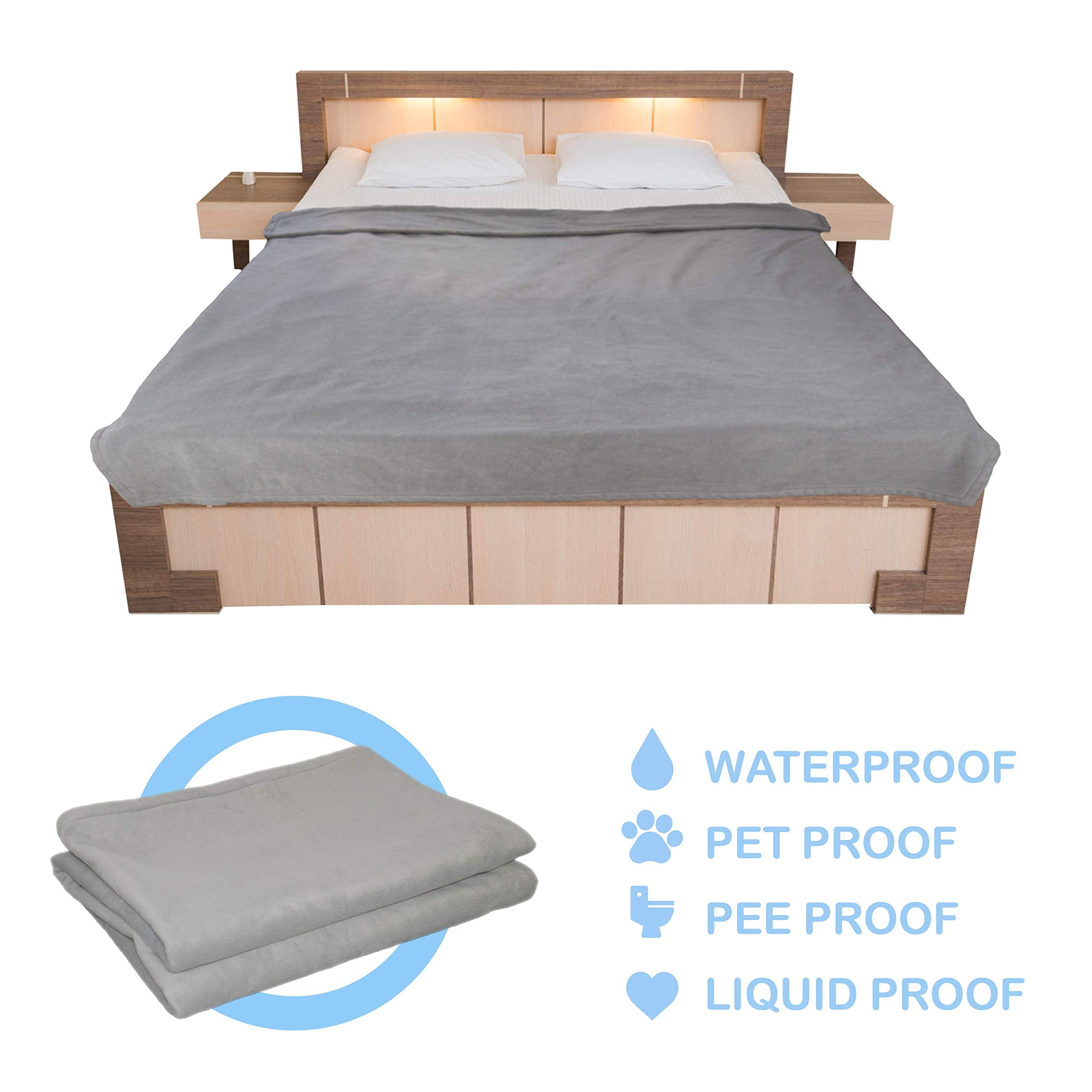 Standard Waterproof Fleece Blanket for Bed, Sofa, Couch, and Furniture Protection from Pets, Liquid, Pee, and for Outdoor Use by Kove Blanket