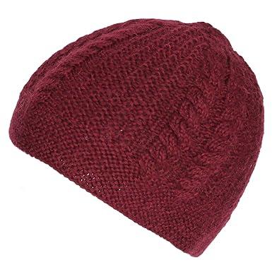 4fcb6275 Amazon.com: Alparino Ladies Cable Knit Alpaca Wool Hat - 100% Handmade Alpaca  Superfine Wool Burgundy: Clothing