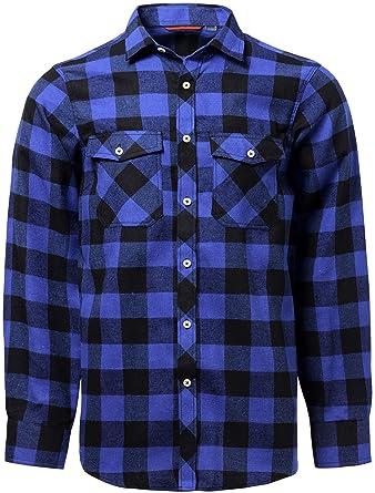 29e54626a6d31 J.VER Hombre Camisas Casuales Ajuste Regular Algodón Manga Larga Camisas a Cuadros  Estudiante  Amazon.es  Ropa y accesorios