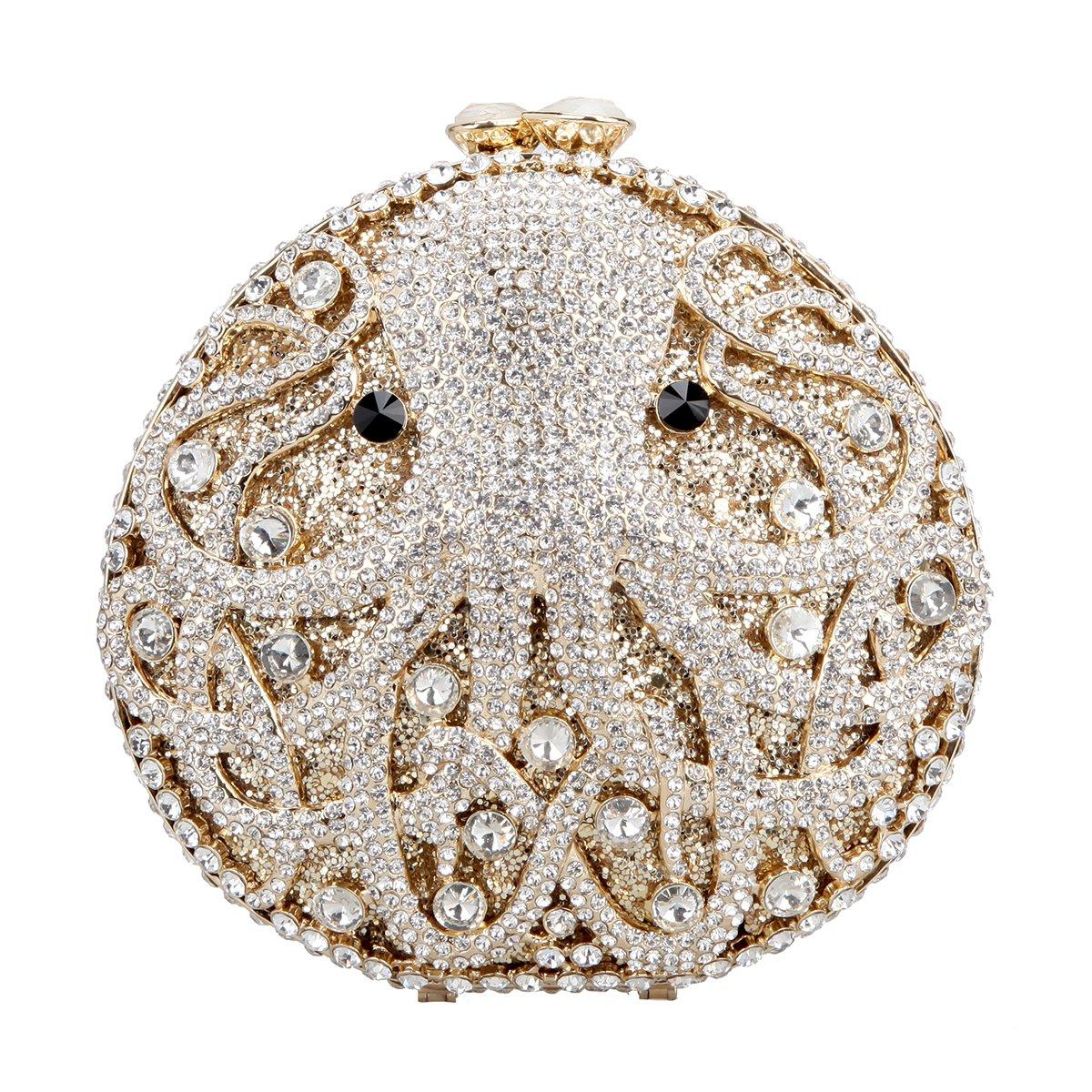 Fawziya Octopus Evening Clutch Purses For Women Rhinestone Crystal Clutch Bag-Gold