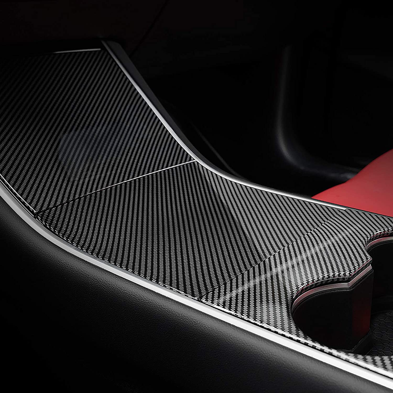 EVBOYS Center Console Wrap for Tesla Model Y Model 3 ABS Console Cover Interior Decoration Wrap Kit Carbon Fiber